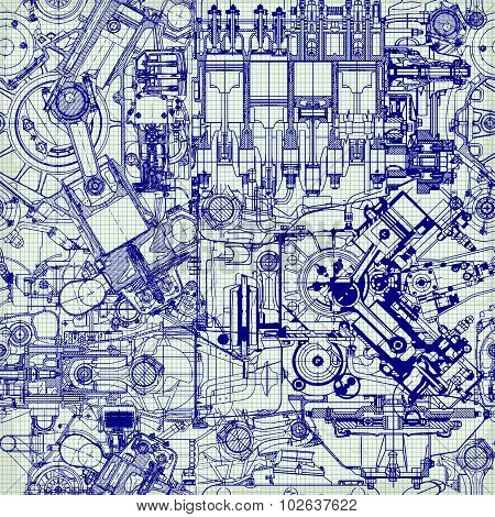 Creative seamless pattern made up of drawings  old motors