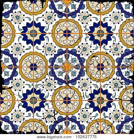 Gorgeous seamless patchwork pattern from grunge Moroccan tiles
