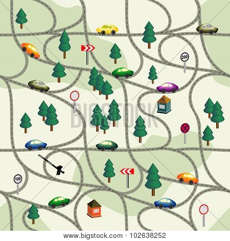 Funny seamless pattern Road with  cars, signs, trees, houses.