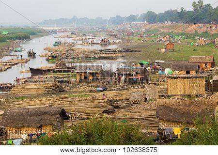 Slum village near the river in the Mandalay city in Myanmar (Burma)