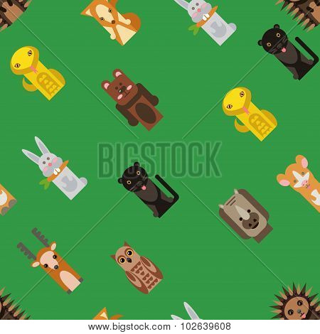Vector Background With Flat Animals Toys