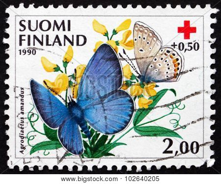 Postage Stamp Finland 1990 Amanda's Blue, Butterfly