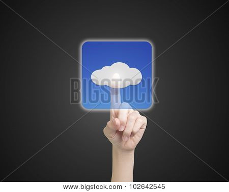 Female Index Finger Touching Cloud Icon Button