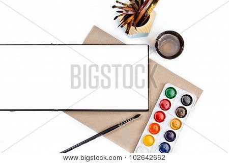Desktop Workplace Designer, Artist, Painter Top View. Modern Trend Template For Advertising. Mockup,
