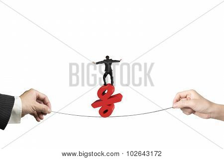 Two Hands Pulling Rope Businessman Balancing Percentage Sign