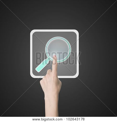 Woman Index Finger Touching Search Icon Button