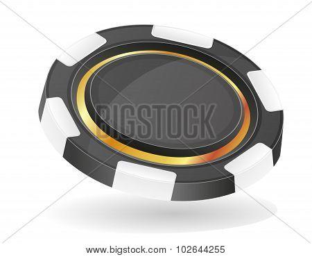 Black Casino Chips Vector Illustration