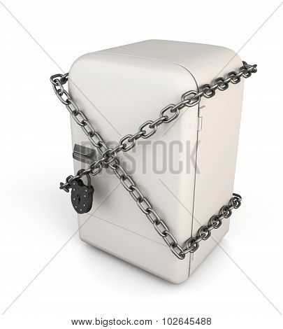 Closed Vintage Fridge With Chain And Lock - Diet Concept