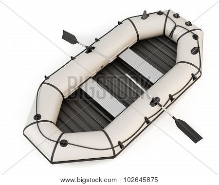 Inflatable Rubber Boat With Oars Isolated On White Background.