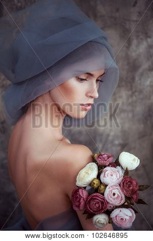 Romantic Portrait Of Young Lady In Turban With Ranunculus