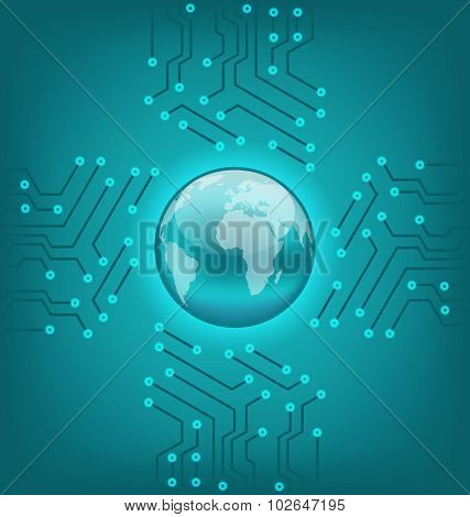 Electronic circuit board texture with earth symbol