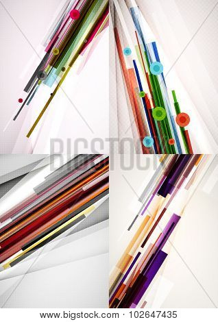 Set of straight lines design abstract backgrounds. Geometric shapes, stripes on light layout with copyspace