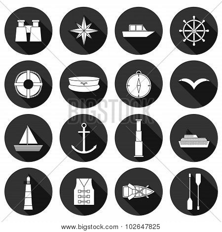 Set of flat boating icons: binoculars, boat, lifebuoy, captain hat, compass, seagull, anchor, spygla