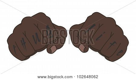 Black Man Fists With Tattoo