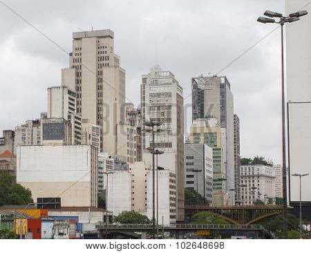 Skyline Of Building Deteriorated In Downtown Sao Paulo