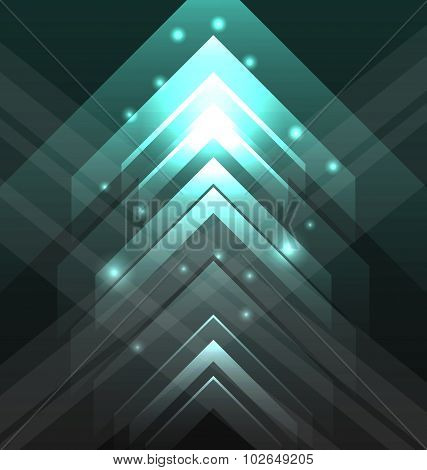 Abstract tecno background with set transparent arrows