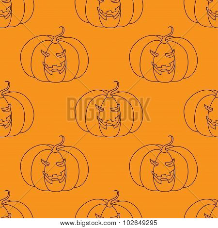 Seamless pattern with Halloween pumpkin