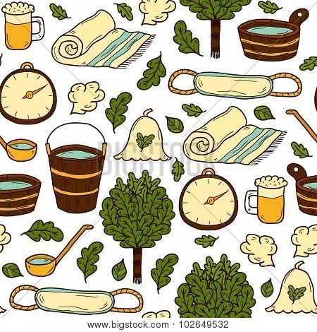Vector seamless background with cartoon hand drawn sauna objects: broom, towel, hat, wisp, beer, ste