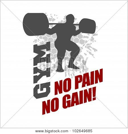 No pain no gain -  label for flayer poster logo t-shirt print with lettering
