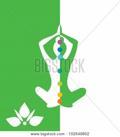 Woman sitting in yoga position - vector illustration