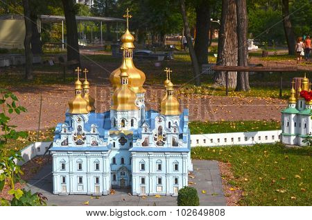 KIEV, UKRAINE - September 23, 2015: Entertaiment Park Ukraine in Miniature (Small scale Ukraine).St. Michael's Golden-Domed Monastery in Kiev,