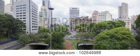 Skyline Of Anhangabau Valley At Downtown Of Sao Paulo
