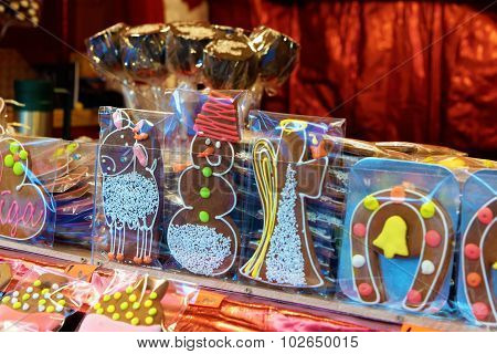 Kiosks With Sweets And Gingerbread Souvenirs