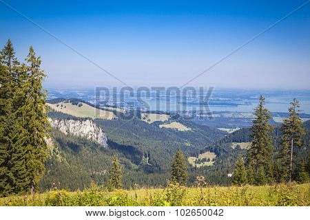 View to lake Chiemsee from the bavarian mountains