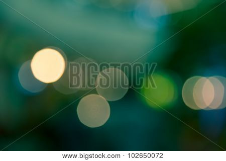 Green Bokeh Blur Abstract Of City Life Background Split-tone