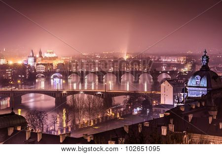 Prague And Vltava River From Letna Hill - Romantic View After Misty Sunset With Marsala Color Tone