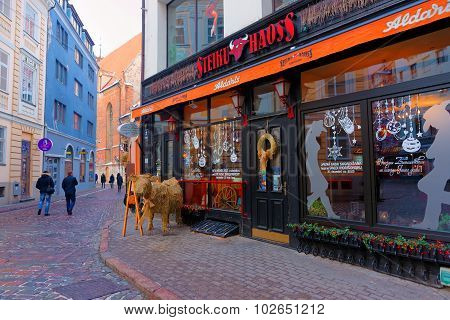 Steak House In Old Riga Decorated For Christmas
