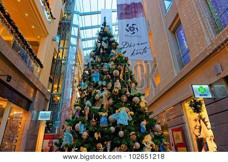 Traditional Christmas Fir Tree In Multilevel Shopping Mall