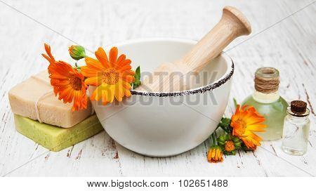 Calendula Flowers And Bath Soap