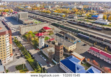 Aerial view onto railway station in Tyumen. Russia