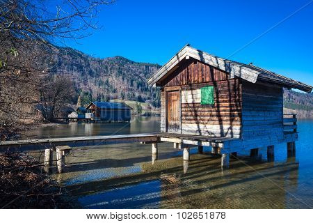 Boathouses At Lake Schliersee In Bavaria