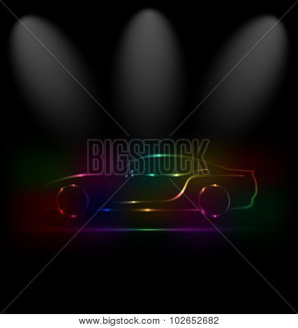 Silhouette of colorful car in darkness
