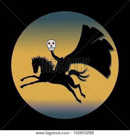 Headless horseman holding skull