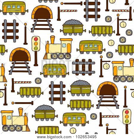 Vector seamless background with hand drawn railroad objects: wagons, semaphore, railway station cloc