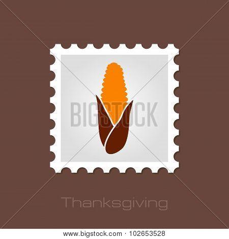 Corn Stamp, Harvest Thanksgiving Vector