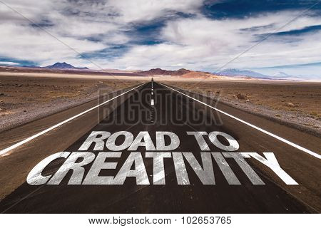 Road to Creativity written on desert road