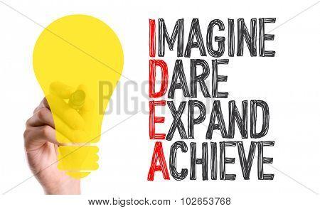 Hand with marker writing: Idea Acronym