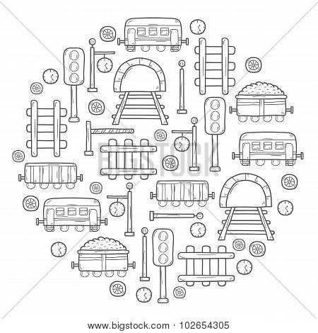 Vector background in circle shape with hand drawn railroad objects: wagons, semaphore, railway stati