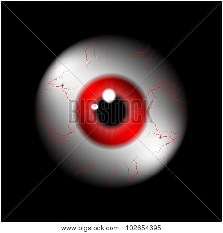 Image Of Realistic Human Eye Ball With Redl Pupil, Iris. Vector Illustration Isolated On Black Backg
