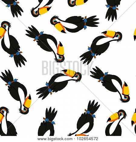 Seamless Funny Cartoon Toucan