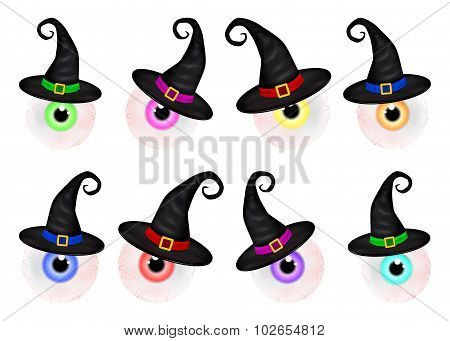 Set  Of  Halloween Spooky, Scary, Realistic Human Eyeball With Colorful Pupil, Iris In Wich Hat. Vec