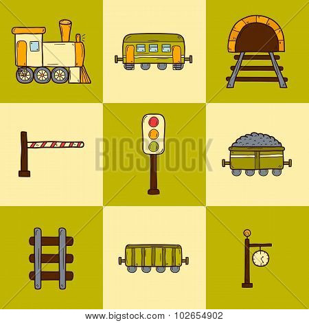 Set of hand drawn railroad icons: wagons, semaphore, railway station clock, locomotive, barrier, tun
