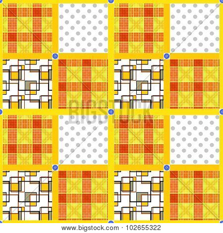 Patchwork Seamless Pattern Ornament Geometrical Background