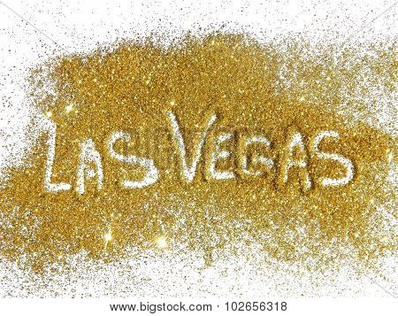 Inscription Las Vegas on golden glitter sparkle on white background