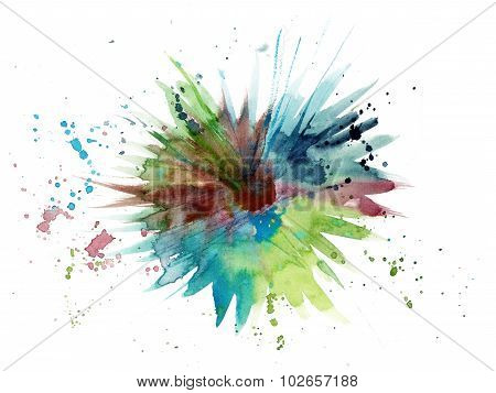 Abstract watercolor green and blue grunge background texture with a place for text inside