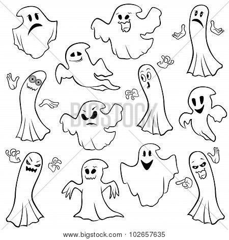 Set Of Twelve Ghost Outline
